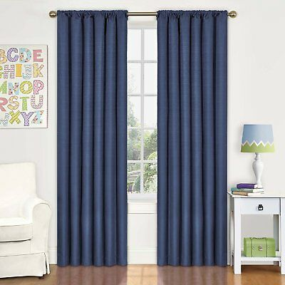 Eclipse Kids Kendall Blackout Thermal Curtain Panel,Denim,84-Inch