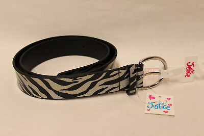 New With Tags Justice Silver Glitter & Black Zebra Print Belt Size Large (16)