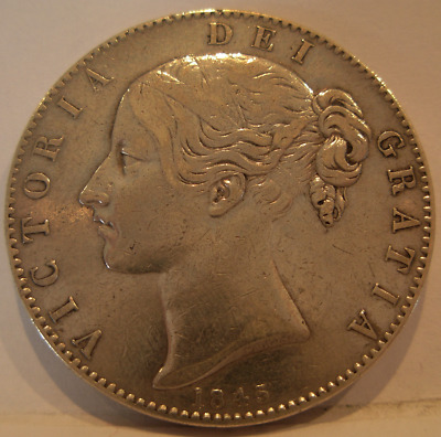 Great Britain 1845 Silver Crown Cleaned Victoria