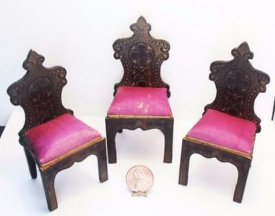 ~~Antique Dollhouse Beidermeir Boulle Set of Three Chairs With Silk Seats~~