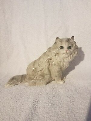 RARE Vintage Shafford Ceramic Porcelain Antique Shaded Silver Persian Cat Figure