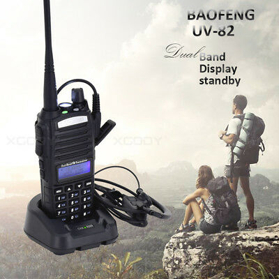 1x BAOFENG UV-82 Walkie Talkie Headset Dual Band UHF VHF Amateur FM Transceiver