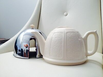 Vintage Beverley Ceramic Teapot With Padded Chrome Cover Made In England