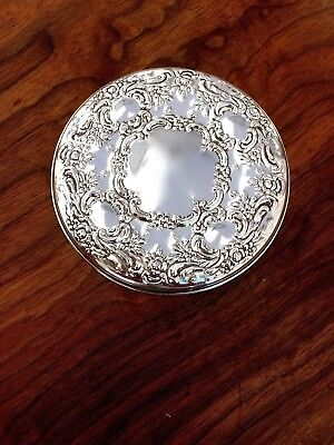 Towle Sterling Silver Purse Mirror in Floral Pattern: Mint Condition in Box