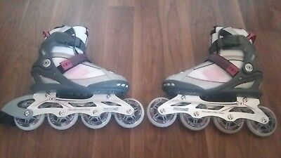 Pair Of New Pink No Fear Inline Skates Uk Size 3