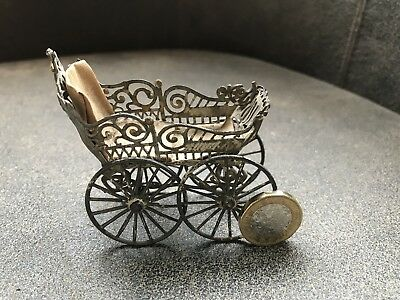 "Antique Dolls House Pram Soft Metal Pram 3"" 7.5cms Long Doll house Doll"