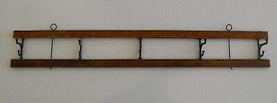 "Antique Wall Hanging Coat Rack or Hat Rack 5 Iron Hooks Wood Rack 27"" by 4"""