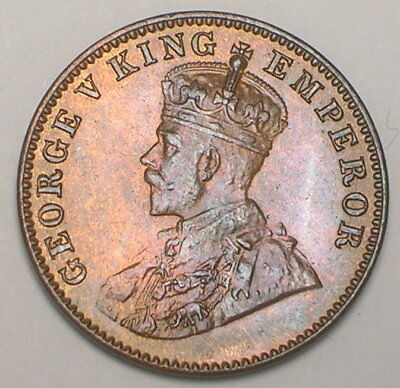 1936 India Indian Quarter 1/4 Anna George V Coin XF Tone