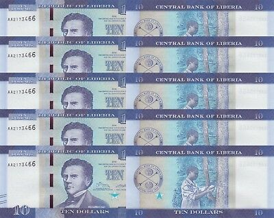 LOT, Liberia 10 Dollars (2016) p32 x 5 PCS UNC
