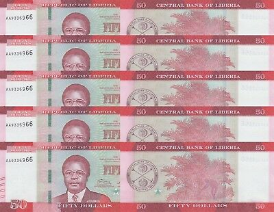 LOT, Liberia 50 Dollars (2016) p34 x 5 PCS UNC
