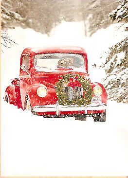 Golden Retriever Pair in a Red Truck Christmas Cards - Box of 10