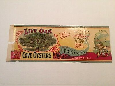 Live Oak Brand Cove Oysters, Oyster Can Label Pass Christian, Mississippi