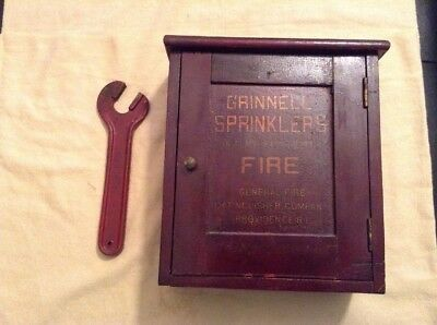 Antique Grinnell Sprinklers Wood Case Fire General Fire Providence RI & Wrench