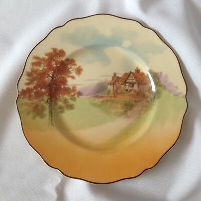 """Royal Doulton """"English Cottages"""" Scalloped Edge Plate - D 4987 - 1930s - 9.1/2"""""""