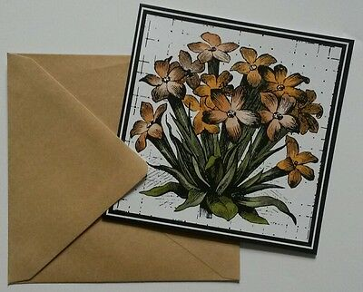 Set of 6 Blank Square Notecards & Envelopes Greeting ~ Yellow Flowers