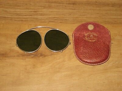 Vintage Ameican Optical Calobar Clip On Sunglasses In Case