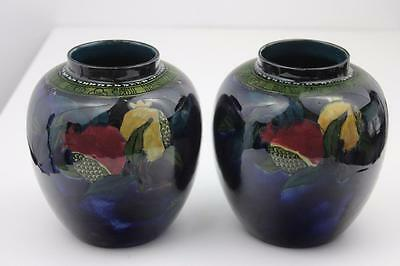 Rubens Ware by Hancock &Sons Pomegranate Pattern 2 Vases c1915 Hand Painted