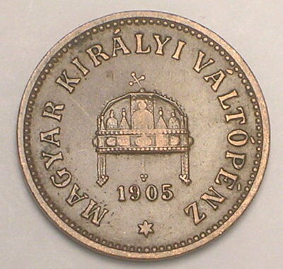 1905 Hungary Hungarian 2 Filler Crown Coin VF+
