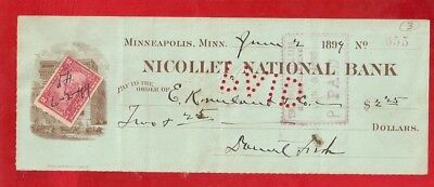 NICE 1899 NICOLLET National Bank CHECK  Minneapolis  w/ 2 Cent R 164 STAMP