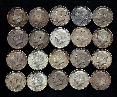 "One Roll 1964 Kennedy Half Dollars 90% Silver (20 Coins) ""toned/stain""  Lot D15"