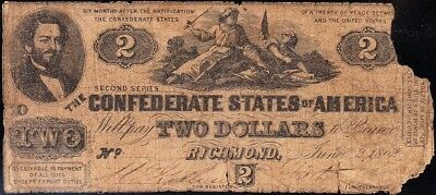Affordable Bargain 1862 T-42 $2 CSA Confederate Note! FREE SHIPPING!