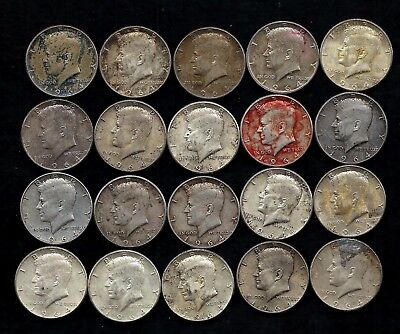 "One Roll 1964 Kennedy Half Dollars 90% Silver (20 Coins) ""damage/stain""  Lot D16"