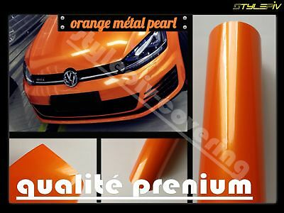 Film vinyle covering orange brillant métal pearl 150x30cm thermoformable adhésif