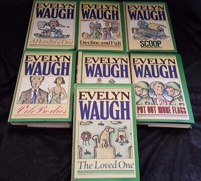 Lot of 7 VINTAGE MATCHING EVELYN WAUGH HARDCOVERS 1977