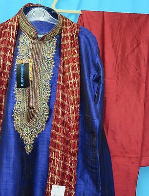 Men's Kurta 5934 Blue Rainbow Silk Kurta Red Silk Pajama Gold Zari Dupatta