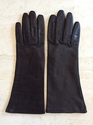 Black  Long  Leather gloves Made in Italy Size*8 New