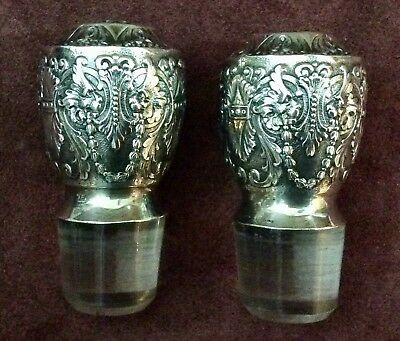 A Pair Of Tiffany And Co.  Antique Sterling Silver On Crystal Decanter Stops