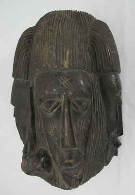 Vintage African Democratic Republic of Congo Luba Tribe Carved 3 Face Mask yqz