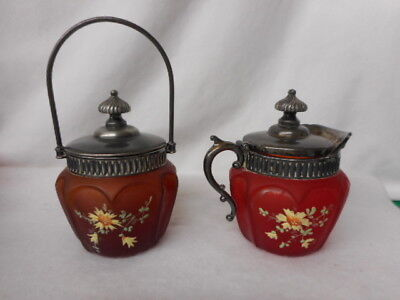 Vintage Consolidated Glass Satin HP Pigeon Blood Ruby Creamer and Sugar w Silver