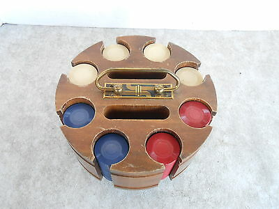 Vintage Poker Chip Rotating Wood Rack with Leather Cover and 192 chips