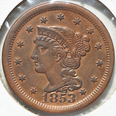 1853 1C Braided Hair Large Cent Copper Rusted Reverse Almost Uncirculated AU