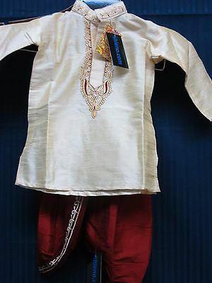 Boy's 8023 Red Dhoti  Beige Gold Kurta Set Shieno Sarees