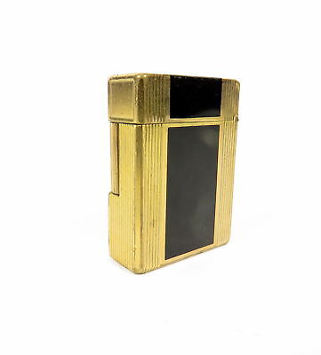 Vintage Paris S. T. Dupont 2-Tone Gold Plated And Black Chinese Lacquer Lighter