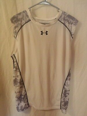 Under Armour Shirt:Mens: 3XL: White/Gray: Polyester/18%Spandex: G.C.