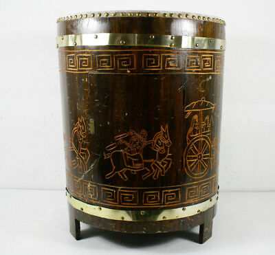 Vintage Hand Crafted Carved  Wooden Brass Traditional Taiko Drum