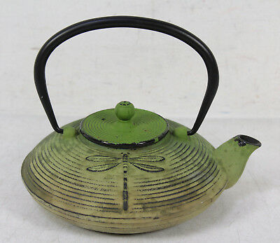 Green Japanese Cast Iron Dragonfly Motif Tetsubin Teapot  With Infuser