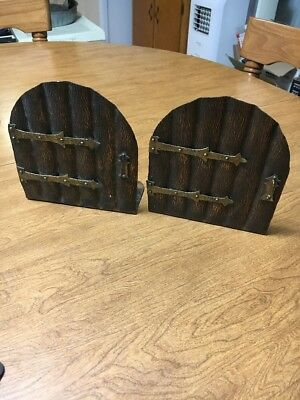 Arts & And Crafts Hand Hammered Brass Copper Bookends Door Pair Mission Antique