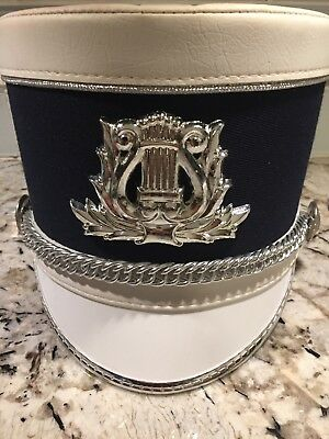 Shako Master Navy Marching  Band Hat Military Soldier Rigid Silver Badge Size L