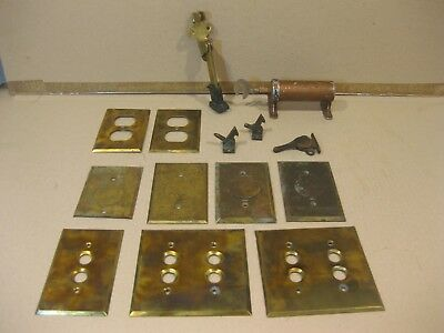 Vintage Hardware Electrical plate covers, d00r stop, window latches, Brass..old