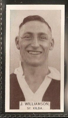 Wills Australian-Aussie Rules Footballers 1933-#094- St Kilda - J Williamson