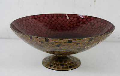 Vintage Hand Crafted Stained Glass Decorative Pedestal Bowl