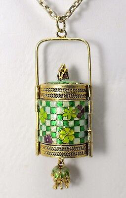 Antique Cloisonne Opium Box, 2 Chambers, Pendant, Sterling Silver Chain Necklace