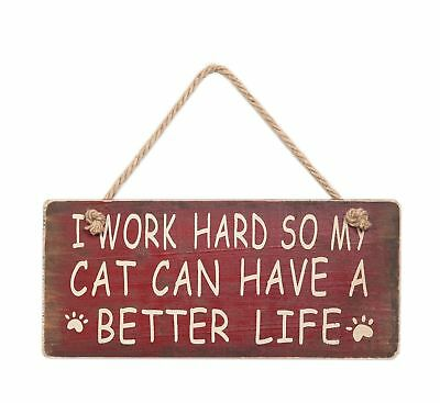 """Attraction Design Work Hard for My Cat Wood Antique Wisdom Sign 5.75"""" Green New"""