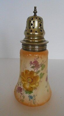 Antique 1881 Earthenware Handpainted Pink & Yellow Roses Sugar Shaker Muffineer