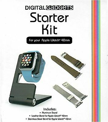 Digital Gadgets Starter Kit For Apple Watch 42mm with Leather and Stainless S...