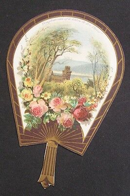 Die Cut Fan Advertising Card, Tetlow's New Assorted Extracts For Handkerchiefs